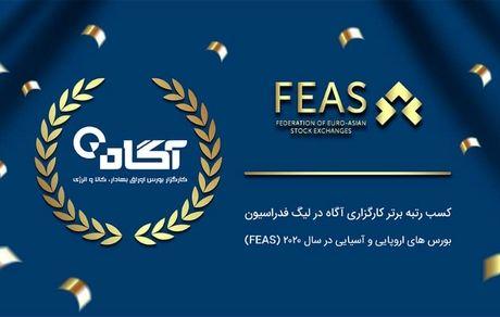 کارگزاری آگاه حائز رتبه برتر در لیگ فدراسیون بورس های اروپایی و آسیایی (FEAS) شد