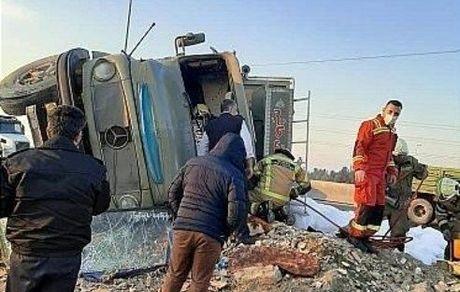 سکته راننده و تصادف در اتوبان آزادگان +تصاویر