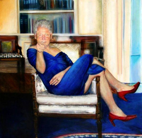 نقاشی رئیسجمهور اسبق آمریکا با لباس زنانه!