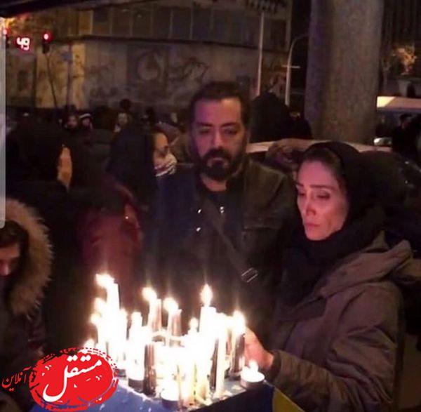 حضور هدیه تهرانی و کارگردان مشهور در میان مردم عزادار + عکس