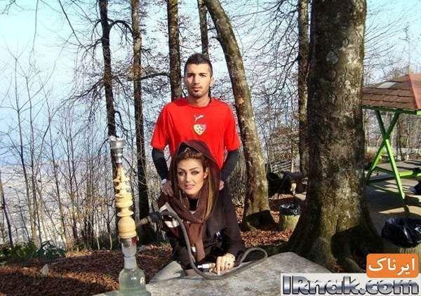 جنجال قلیان کشیدن محسن مسلمان با نامزدش