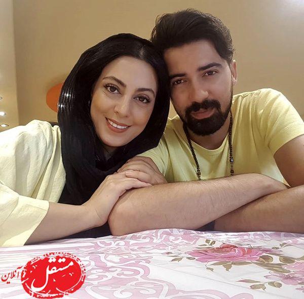 ست زرد رنگ نیلوفر شهیدی و همسرش + عکس