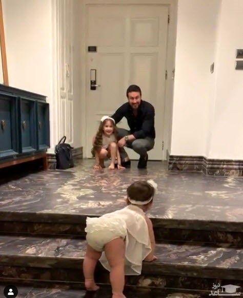 فیلم) استقبال شیرین دختران خردسال شاهرخ استخری از وی | ساعدنیوز