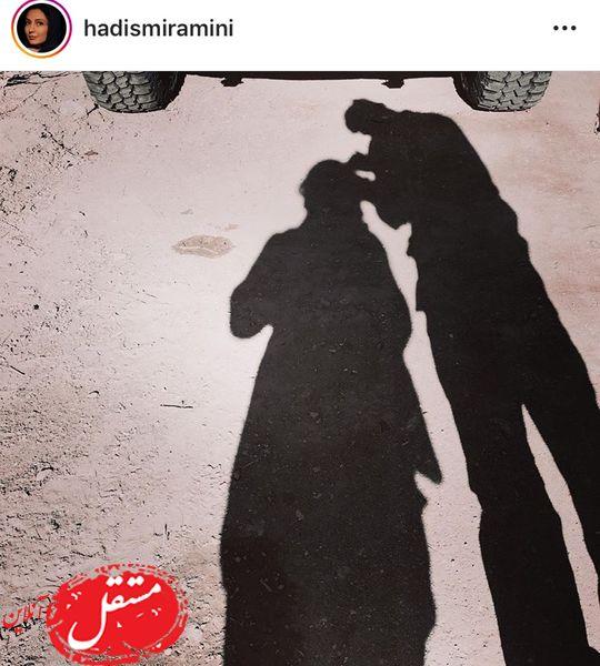 سایه بازی های خانم بازیگر با همسرش + عکس