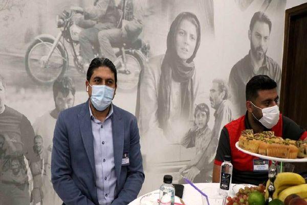 پوستر جدایی نادر از سیمین در مراسم قرعه کشی لیگ برتر فوتبال!