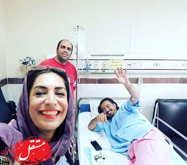 عیادت خانم بازیگر در بیمارستان + عکس
