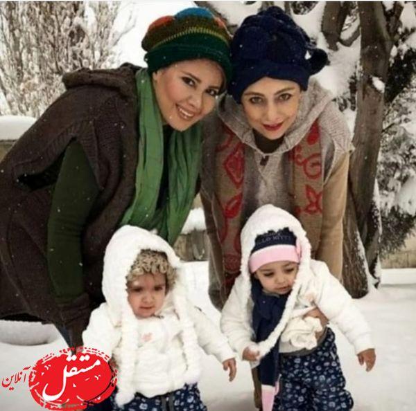 برف بازی یکتا ناصر و خواهرش به همراه دخترانشان + عکس