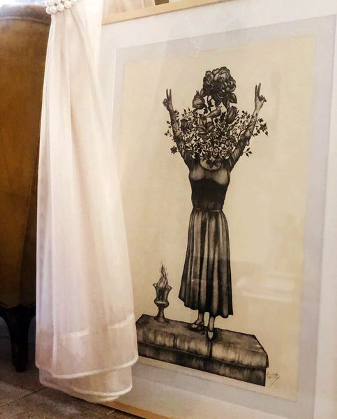 نقاشی صابر ابر از دختر آبی + عکس